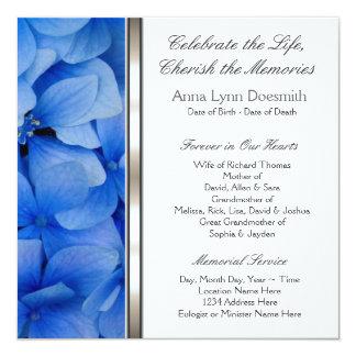 """Invitaciones azules del entierro del Hydrangea Invitación 5.25"""" X 5.25"""""""