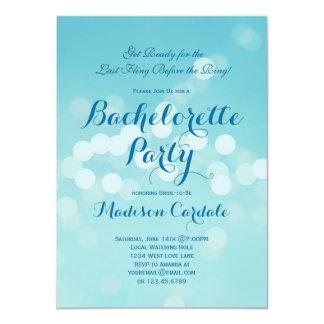 Invitaciones azules del fiesta de Bachelorette de Comunicado Personalizado