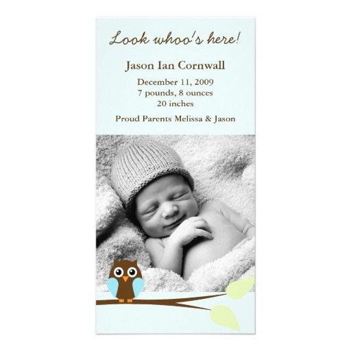 Invitaciones azules del nacimiento de la foto del  tarjetas fotográficas