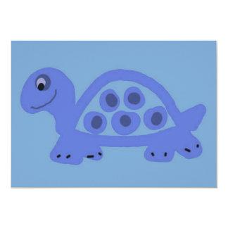 """Invitaciones azules del nacimiento de la tortuga invitación 5"""" x 7"""""""