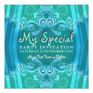 Invitaciones azules exóticas del fiesta del anuncio