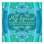 Invitaciones azules exóticas del fiesta del gabine anuncio