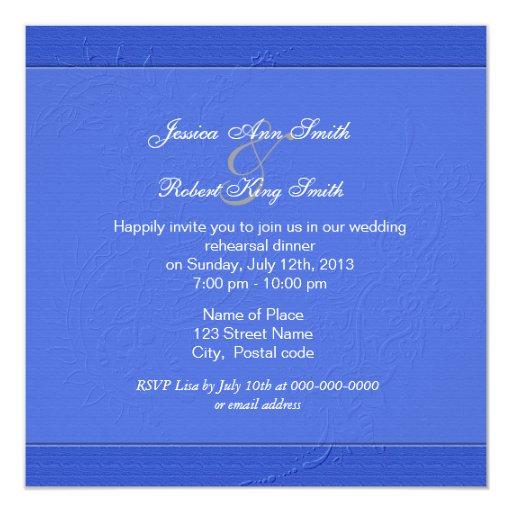 """Invitaciones azules florales gráficas de la cena invitación 5.25"""" x 5.25"""""""