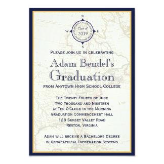 """Invitaciones azules formales de la graduación del invitación 5"""" x 7"""""""