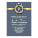 invitaciones azules náuticas del boda de oro