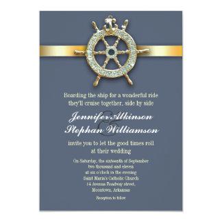 """invitaciones azules náuticas del boda de oro invitación 5"""" x 7"""""""