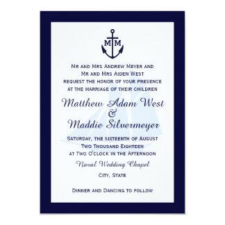 """Invitaciones azules náuticas del boda del invitación 5"""" x 7"""""""