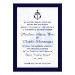 Invitaciones azules náuticas del boda del monogram