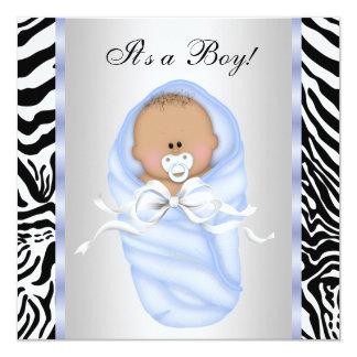 Invitaciones azules negras de la ducha del bebé de invitacion personalizada