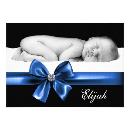 Invitaciones azules negras del nacimiento de la fo comunicado