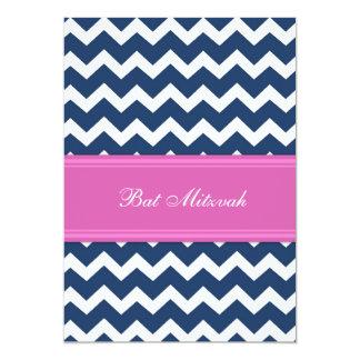Invitaciones azules rosadas de Mitzvah del palo de Anuncios Personalizados