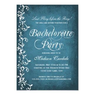 Invitaciones azules rústicas del fiesta de invitación personalizada