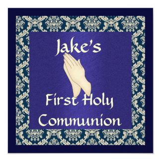 """INVITACIONES azules y beige de la comunión santa Invitación 5.25"""" X 5.25"""""""