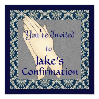 """INVITACIONES azules y beige de la CONFIRMACIÓN del Invitación 5.25"""" X 5.25"""""""