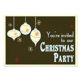 Invitaciones azules y del moreno retras del navida comunicado personalizado
