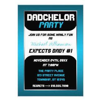 Invitaciones azules y negras del fiesta de Dadchel