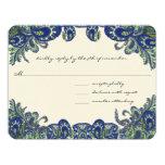 Invitaciones azules y verdes del boda del pavo invitación 10,8 x 13,9 cm