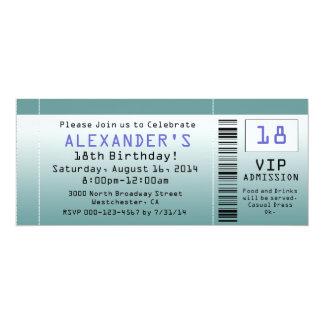 """Invitaciones azulverdes del boleto invitación 4"""" x 9.25"""""""