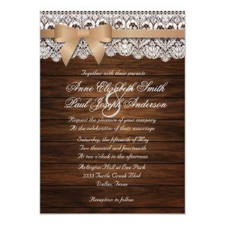 Invitaciones beige del boda del arco de madera y invitación 12,7 x 17,8 cm