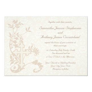 Invitaciones blancas del boda del Flourish cruzado Invitación 12,7 X 17,8 Cm