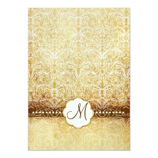 Invitaciones blancas del boda del monograma del invitación 12,7 x 17,8 cm