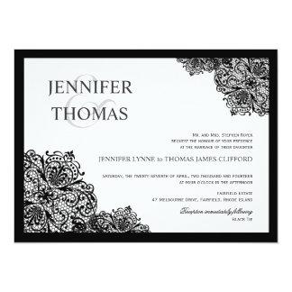 Invitaciones blancas formales del boda del cordón invitación