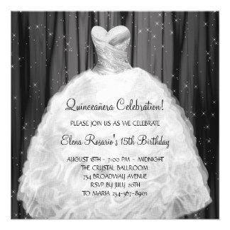 Invitaciones blancas negras de Quinceanera del ves Comunicados
