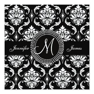 Invitaciones blancas negras del boda del damasco invitación 13,3 cm x 13,3cm