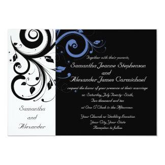 Invitaciones blancas negras del boda del remolino invitaciones personalizada
