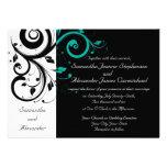 Invitaciones blancas negras del boda del remolino