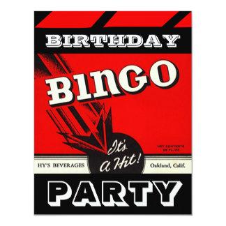 """Invitaciones blancas negras rojas del bingo del invitación 4.25"""" x 5.5"""""""