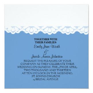 """Invitaciones blancas y azules del boda del cordón invitación 5.25"""" x 5.25"""""""