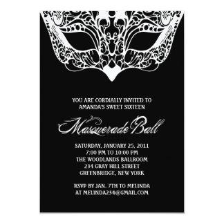 Invitaciones blancos y negros de la mascarada invitación 12,7 x 17,8 cm