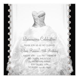Invitaciones blancos y negros de Quinceanera Anuncios