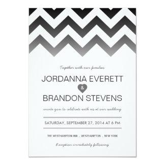 """Invitaciones blancos y negros del boda de Chevron Invitación 4.5"""" X 6.25"""""""