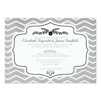 """Invitaciones blancos y negros del boda de Chevron Invitación 5"""" X 7"""""""