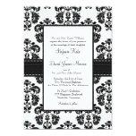Invitaciones blancos y negros del boda del damasco anuncio