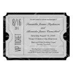Invitaciones blancos y negros del boleto del boda  anuncio