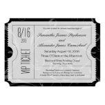 Invitaciones blancos y negros del boleto del boda invitación 12,7 x 17,8 cm