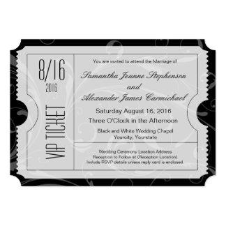 """Invitaciones blancos y negros del boleto del boda invitación 5"""" x 7"""""""