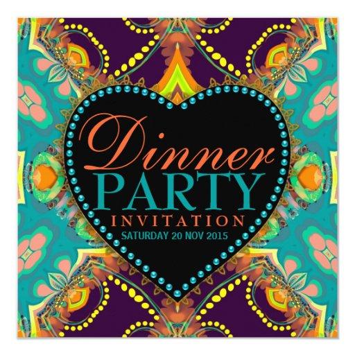"""Invitaciones bohemias del fiesta de cena del batik invitación 5.25"""" x 5.25"""""""