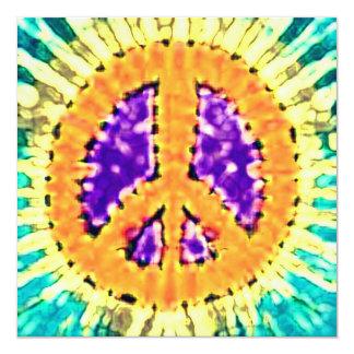"""Invitaciones brillantes del signo de la paz del invitación 5.25"""" x 5.25"""""""