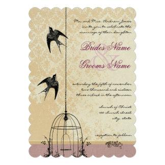 Invitaciones caprichosas del boda de la jaula de p