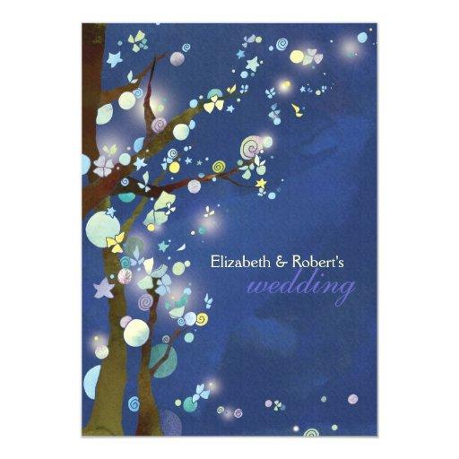 Invitaciones caprichosas del boda del bosque azul invitación 12,7 x 17,8 cm
