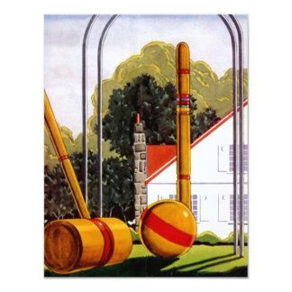 """Invitaciones casuales del césped del croquet de la invitación 4.25"""" x 5.5"""""""