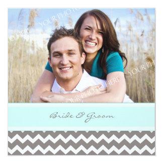 """Invitaciones Chevron azul gris del boda de la foto Invitación 5.25"""" X 5.25"""""""