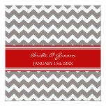 Invitaciones Chevron gris rojo del boda Invitación 13,3 Cm X 13,3cm