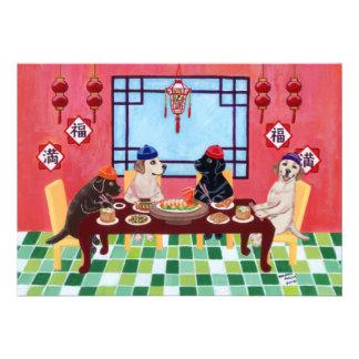 Invitaciones chinas del fiesta del restaurante de comunicados