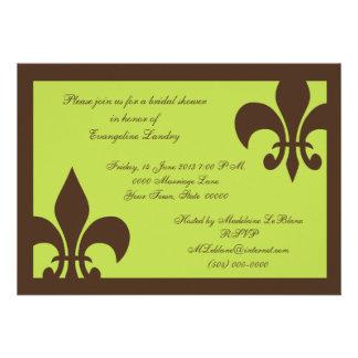 Invitaciones chocolate y cal de la flor de lis invitacion personal