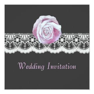 """Invitaciones color de rosa elegantes del boda del invitación 5.25"""" x 5.25"""""""